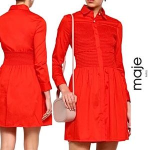 Maje NWT Red Cotton Smocked Mini Shirt Dress, L